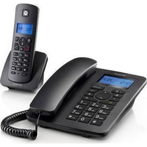 Σέτ σταθερού και Ασύρματου τηλεφώνου MOTOROLA C4201 COMBO Black