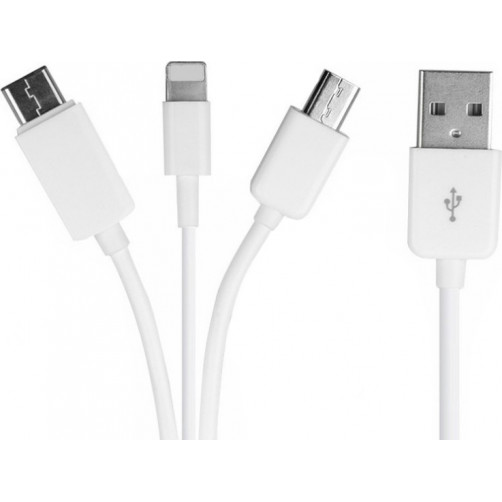 POWERTECH CAB-U087 Micro USB, Type C & 8-pin, 3 σε 1