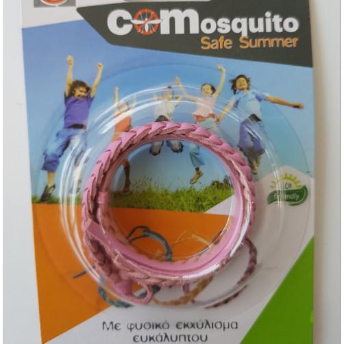 Αντικουνουπικό βραχιολάκι με φυσικο εκχύλισμα ευκάλυπτου COMosquito Safe Summer Ροζ