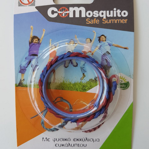 Αντικουνουπικό βραχιολάκι με φυσικο εκχύλισμα ευκάλυπτου COMosquito Safe Summer Κόκκινο-Μπλε